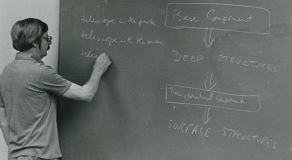 Ron Macaulay, professor of linguistics, in the classroom in 1977.