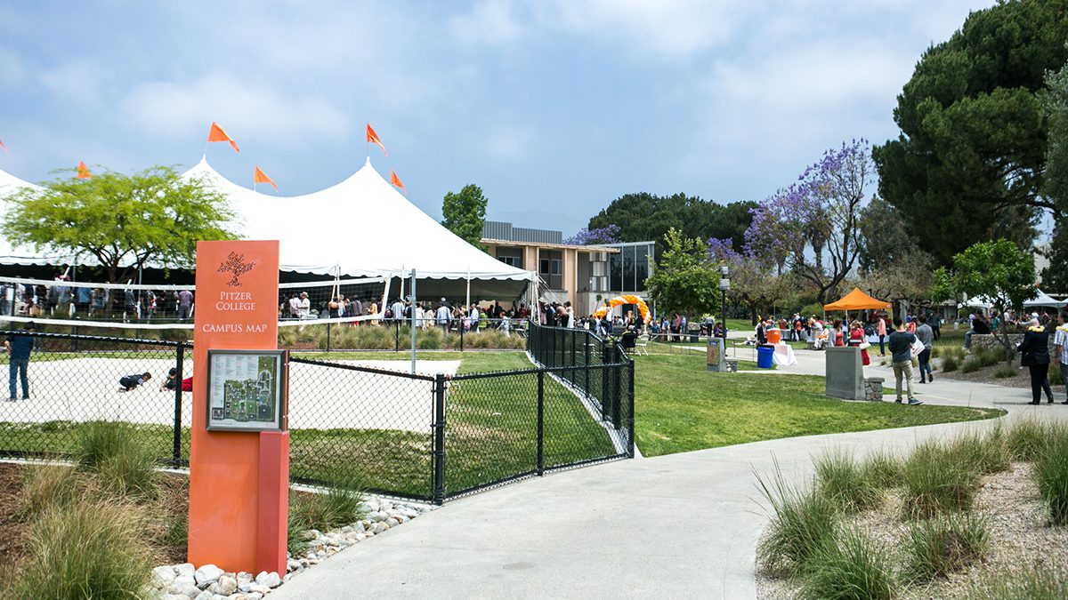 Commencement tent at Pitzer College