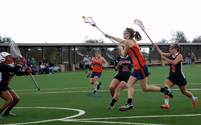 Jana London '14 had nine goals in a big win over Occidental for Women's Lacrosse.