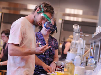 Pitzer Professor Katie Purvis-Roberts with student in W.M. Keck Science Department laboratory