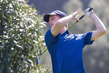 Jordan Fox '16 tied for fifth at the first Men's Golf Tournament of the year with a 73, helping the Sagehens to a fourth place finish at the SCIAC Preview (photo by Bob Palermini).)
