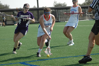 Sarah Markowitz '16 had four goals and an assist for the Women's Lacrosse team in an 11-8 win over Chapman.