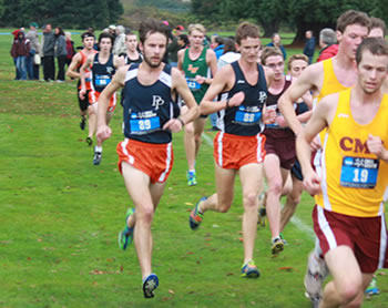 Alex Johnson '13 (left) competing at the NCAA West Regionals, where he helped the Sagehens qualify for the nationals with a second place finish.