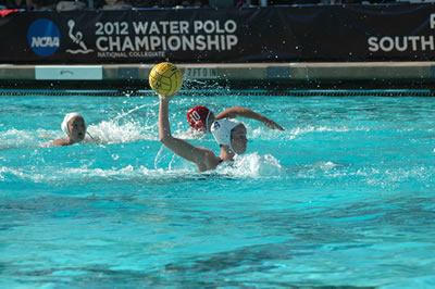 Perri Hopkins about to score a goal against Stanford during the NCAA Water Polo Championship at San Diego State in May. The Sagehens lost the game but scored more goals off top-ranked Stanford than any other team in this year's NCAA Tournament.