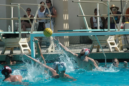 Daniel Diemer '18 recorded 10 saves in the second half of a match against No. 1 Stanford for the Men's Water Polo team.