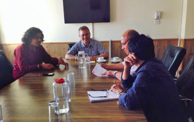 Sumesh Shiwakoty '18 (left) meeting with UN-Habitat officials and business stakeholders in Nepal.