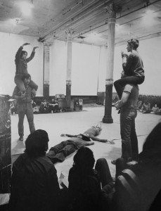 "Performance view of ""Energy Fields"" at 112 Greene Street, New York (1972) Performers included: Carmen Beuchat, Caroline Gooden, Suzanne Harris, Rachel Lew, Barbara Lloyd (Dilley), Gordon Matta-Clark, Judith Padow, Gerald Schieber and Juan Downey. Documentation photograph, 8 x 10 in. (21 x 26 cm.) The Estate of Juan Downey, New York"