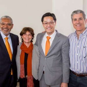 President-designate Melvin L. Oliver, Suzanne Oliver, Interim President Thomas Poon and Board of Trustees Chair Shahan Shahan Soghikian '80.