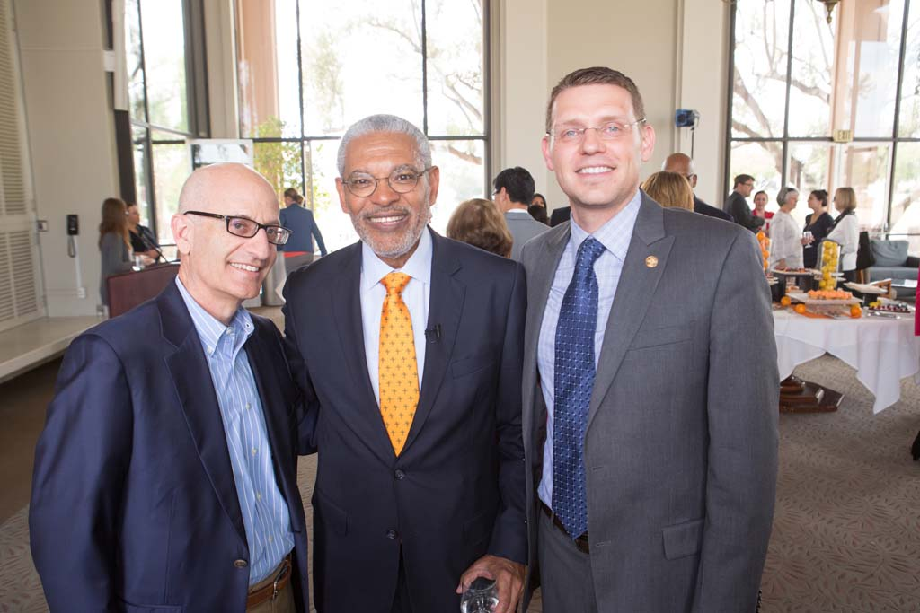 Trustee Donald Gould, President-designate Melvin L. Oliver and Vice President of Student Affairs Brian Carlisle.