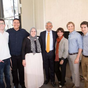 President-designate Melvin L. Oliver and Suzanne Oliver with Pitzer Student Senate members.