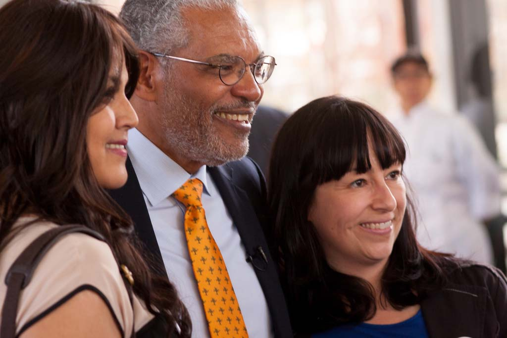 First-generation student Maria Melendrez '16, President-designate Melvin L. Oliver and Professor and first-generation adviser Roberta Espinoza.