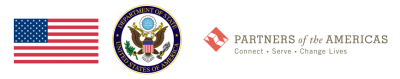 Partners of the Americas logo, State Department logo, US Flag