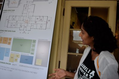 Brinda Sarathy talks about proposed site plans.