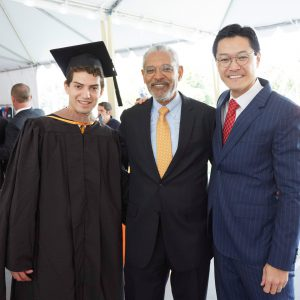 Student Senate President Josue Pasillas '17, President Melvin L. Oliver and former Interim President Thomas Poon at the Inauguration of Pitzer College President Melvin L. Oliver.