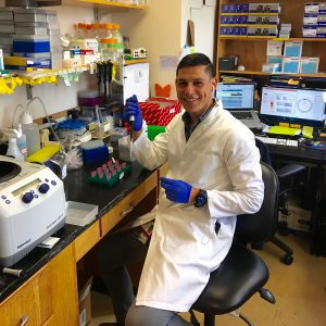 Alfredo (Freddy) Valencia '14 working in the lab