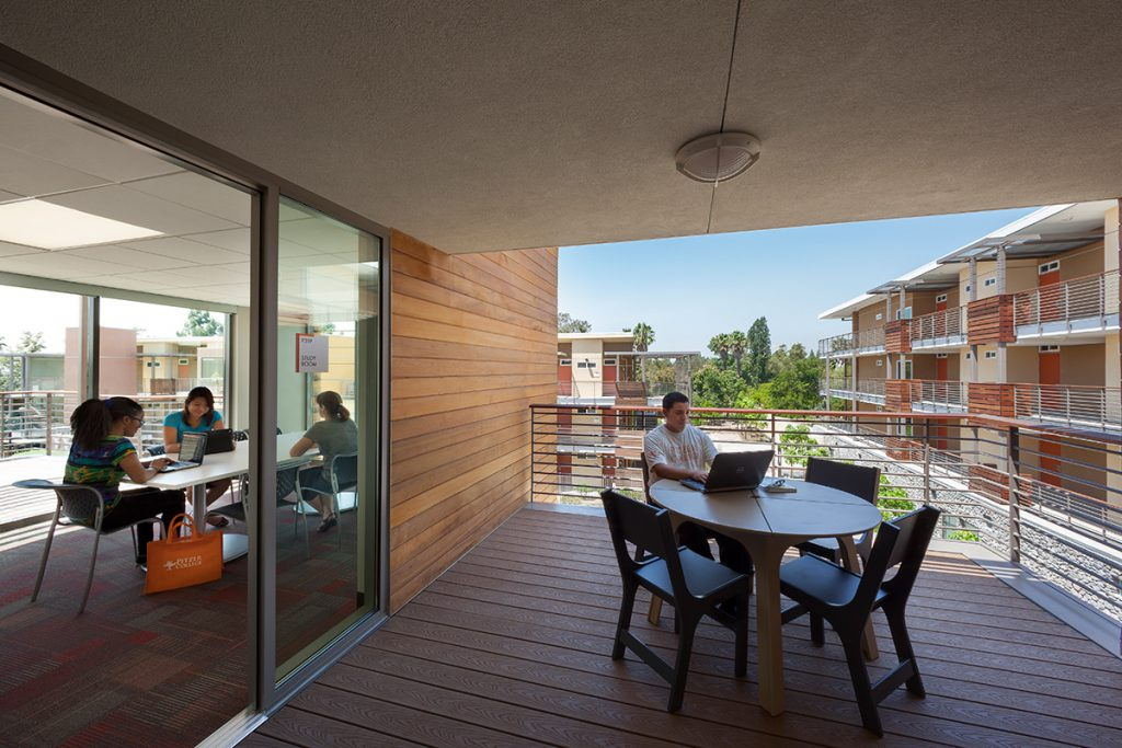 Students studying in the residence hall