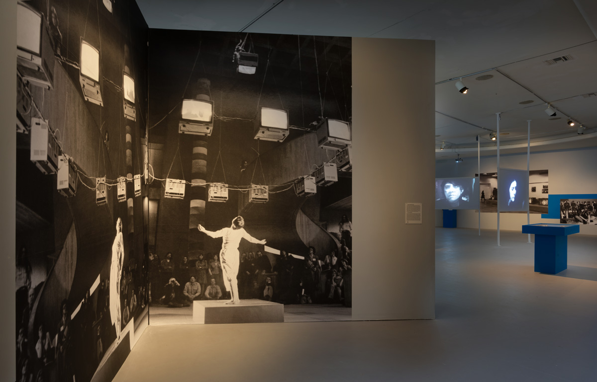 Installation view of enlarged photographic documentation of video performance in 1972 at LACE, Los Angeles.