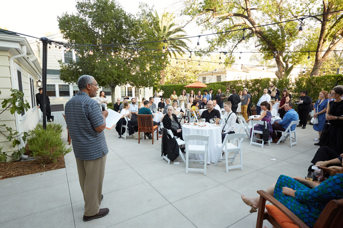 President Melvin L. Oliver gives the welcoming remarks at the President's Reception.