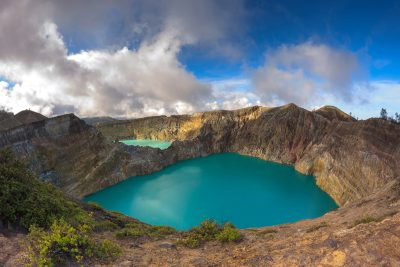 Tri-color volcanic lakes in Indonesia