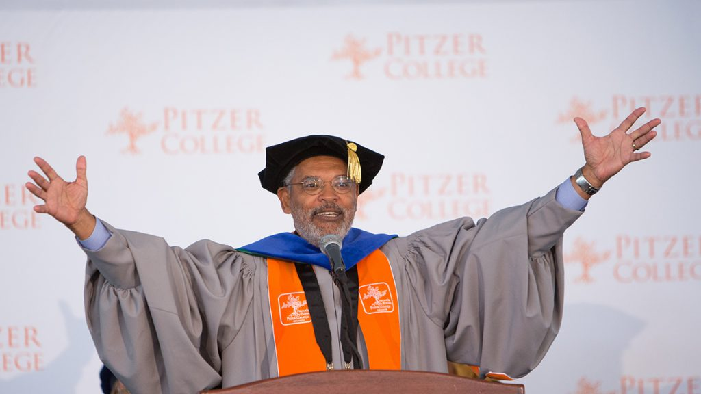 President Melvin L. Oliver gives the charge to the Class of 2018