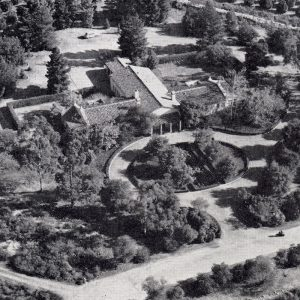 Aerial view of the Memorial Infirmary from a brochure titled