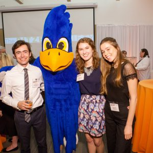Advancement Fellows and Cecil the Sagehen at the Pitzer Society reception