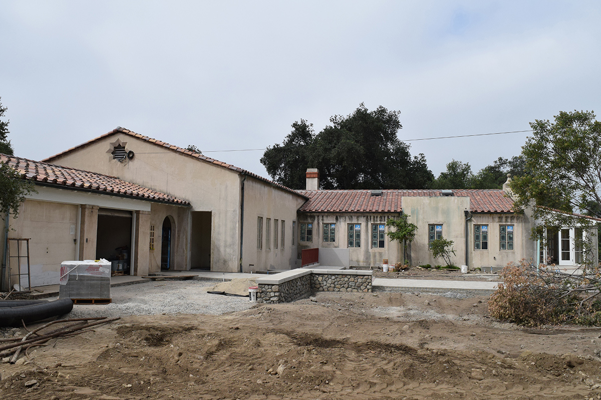 Back view of the building during landscaping.