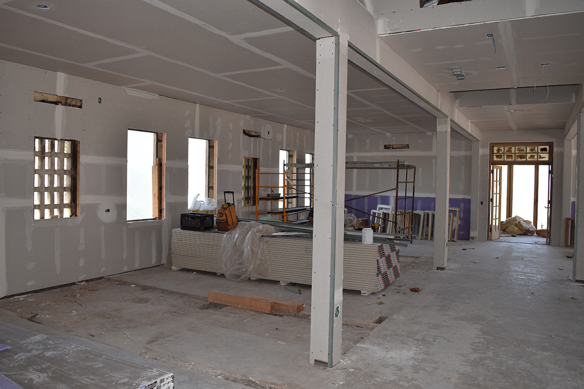 Construction of the art classroom, northwest wing.