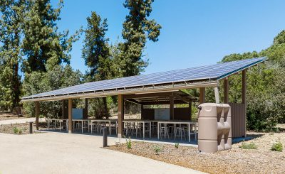 The two outdoor classrooms feature large-capacity rain barrels and solar panels that will produce about 88,000 kWh per year