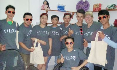 Pitzer students and staff member Kathy Kile in Vietnam
