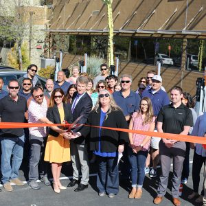 Ribbon cutting, electric vehicle charging stations