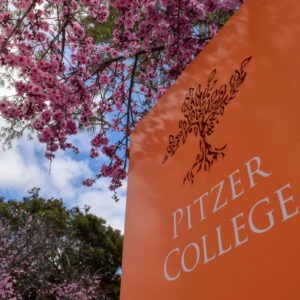 Pitzer College orange sign with pink ornamental plum blossoms