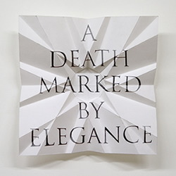 James Melinat; (A Death Marked By Elegance), 2009; graphite on paper; 12.5 x 12.5 x 2.5 inches