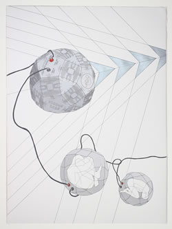 Kara Tanaka; Space Pearl: Exodus 2025, 2009; Acrylic ink on paper; 30 x 22 inches; Courtesy of the artist and Simon Preston Gallery, NY