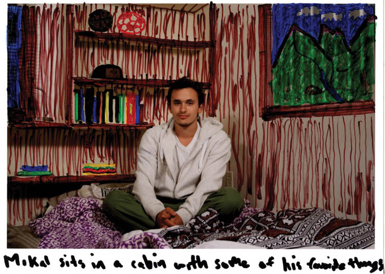 "Mikal Sits in a Cabin with Some of His Favorite Things (2012); Colored pen on digital photo print; 8.5"" x 11"""