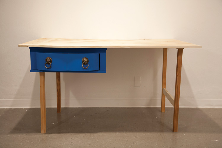 "A desk made of Ticky-Tacky (2013); Found wood, hardware; 35"" x 57"" x 31"""