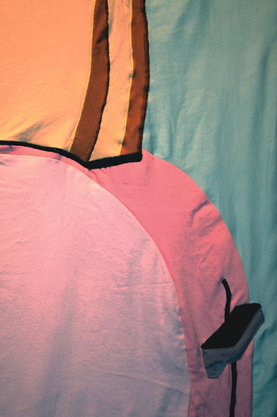 Toaster (2010), (Detail), 54 x 75 inches, Quilted, Hand-dyed, second-hand cotton fabric stretched over wood frame.