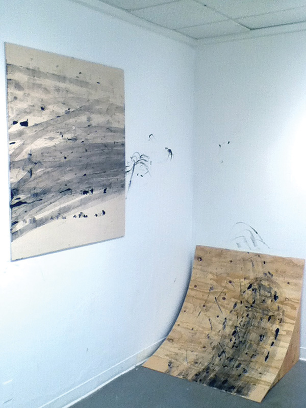 Mapping Gesture, 2013; Plywood, hardware, canvas, acrylic paint; Dimensions variable