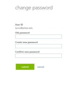 password change page