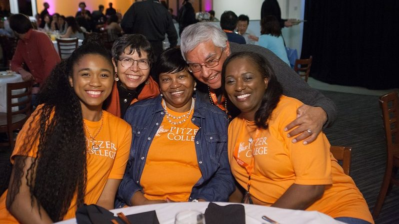 A Pitzer College family in the dining hall