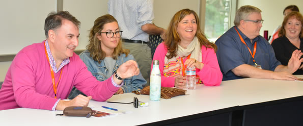 Attendees in a colaborative classroom at family weekend 2017