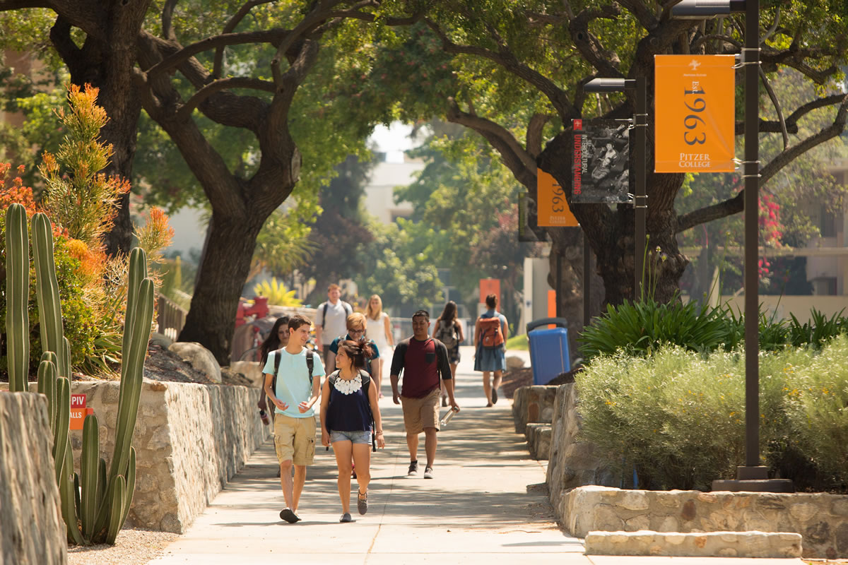 Students walking across campus