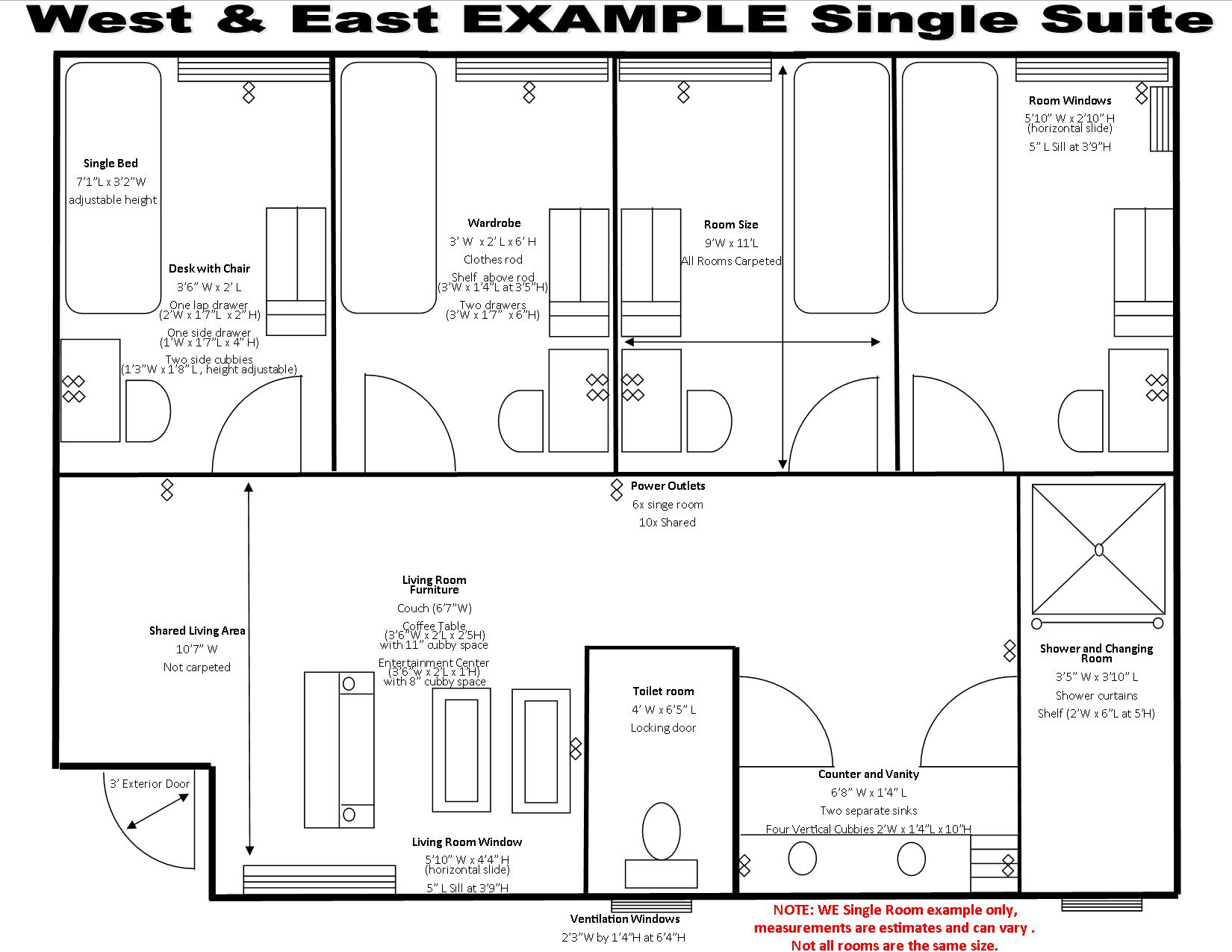 West And East Halls Housing Student Life Pitzer College Desk Schematic We Drafting Single Suite 8615