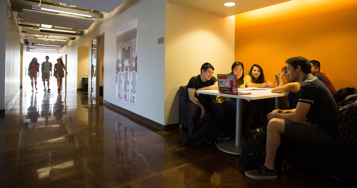Students studying in Skandera Hall