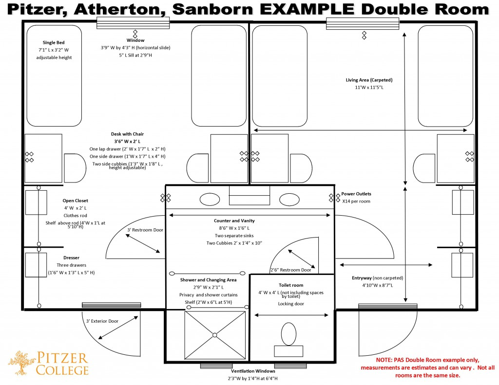 Pitzer-Atherton-Sanborn Schematic, Double Room