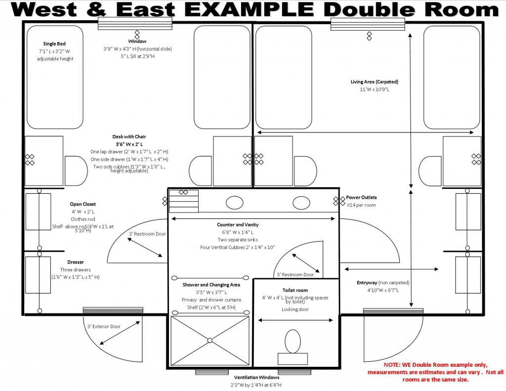 West and East Halls Schematics, Double Room