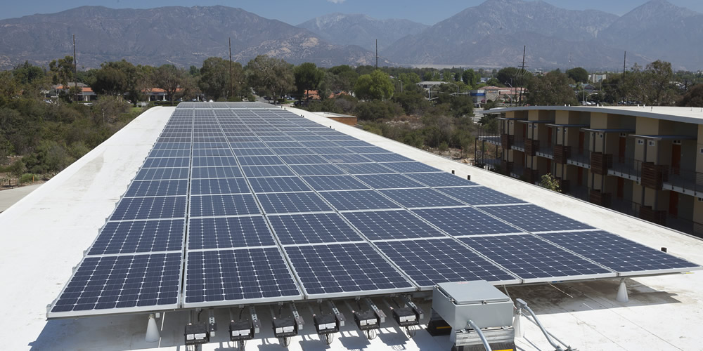 Solar panels on top of West Hall