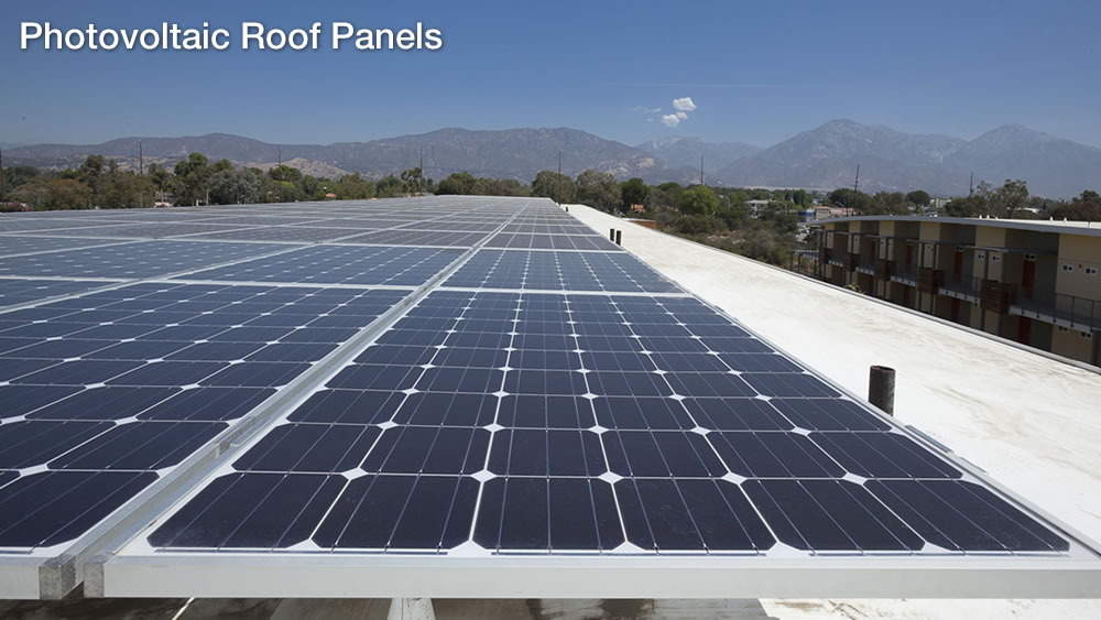 Phase II solar panels reduce CO2 emissions by more than 300,000 pounds and generate 118,000 kilowatt hours of renewable energy annually, supplying 10 percent of the buildings' energy demand each year. [Energy & Atmosphere (EA) Credits 2 and 6]