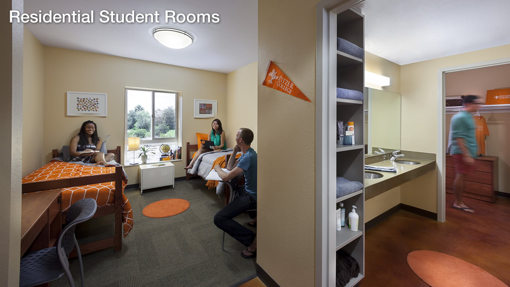 Student rooms are designed to reduce energy and water use. Natural daylight decreases the need for electric lights, overhangs lessen A/C demand and low-flow plumbing reduces water waste. [Energy & Atmosphere (EA) Credit 1.3, Water Efficiency (WE) Credit 3.1, Indoor Environmental Quality (IE) Credit 4.1]