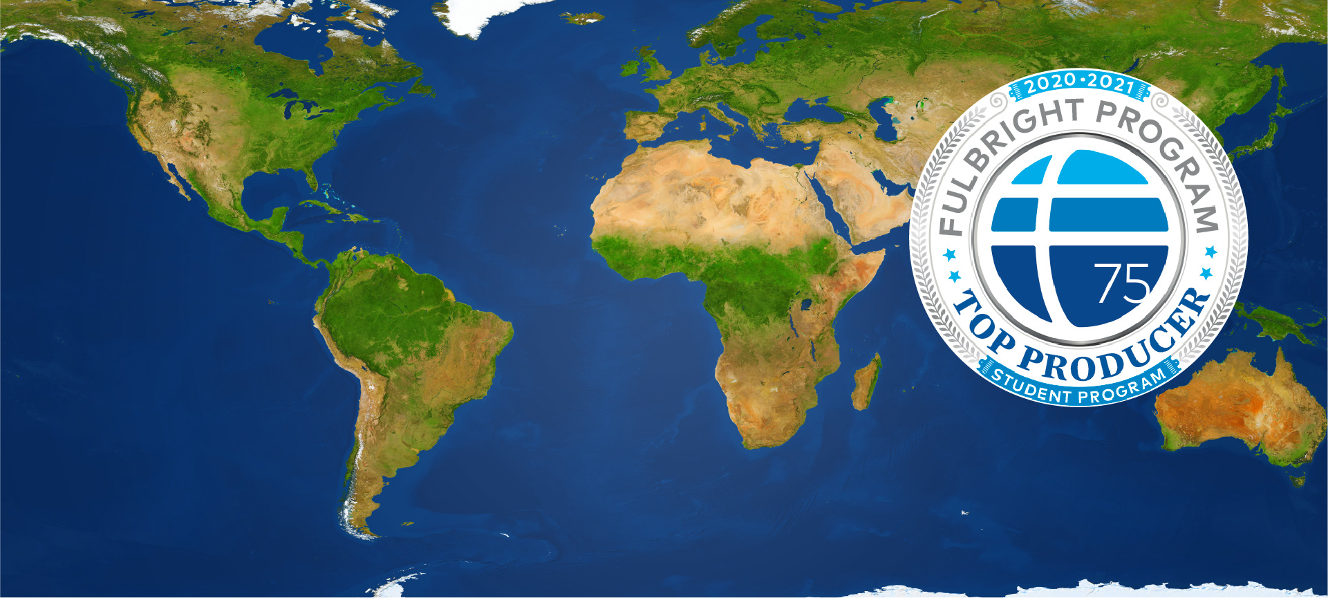 world map with Fulbright icon